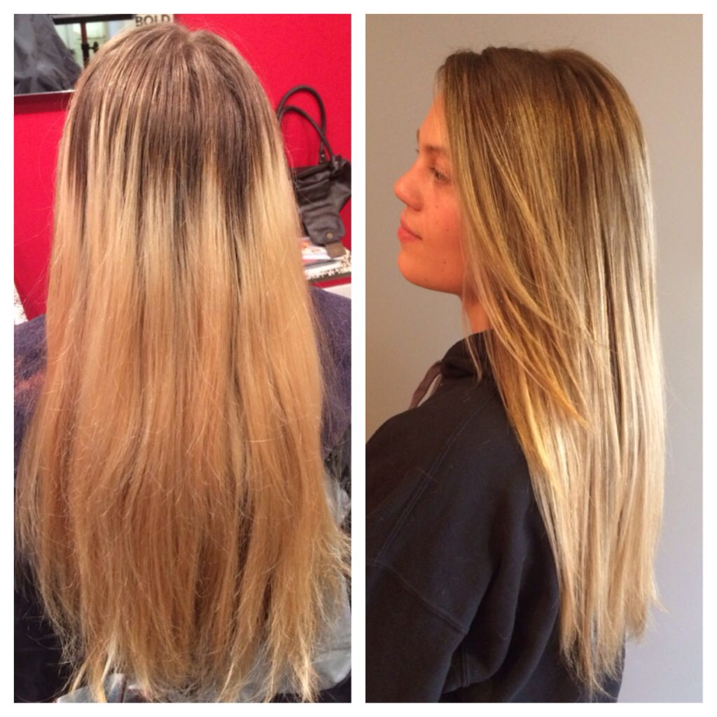 Before And After A Cost Effective Way To Blend In Old Blond To Grown Out Roots Bleached Hair Roots Hair Hair
