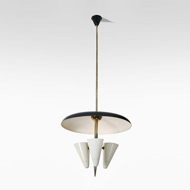 Italy 1950 stinovo an elegant ceiling light gilt brass trunk three lights with