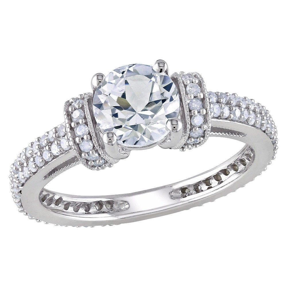 Allura 1/2 CT. T.W. Diamond And White Sapphire Engagement Ring in White Gold (8), Women's, Multi-Colored