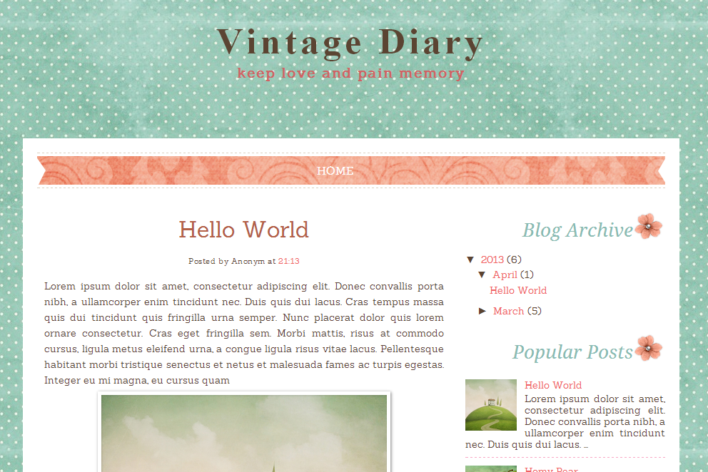 Vintage Diary Free Blog Template | Ipietoon-Cute Blog Design ...
