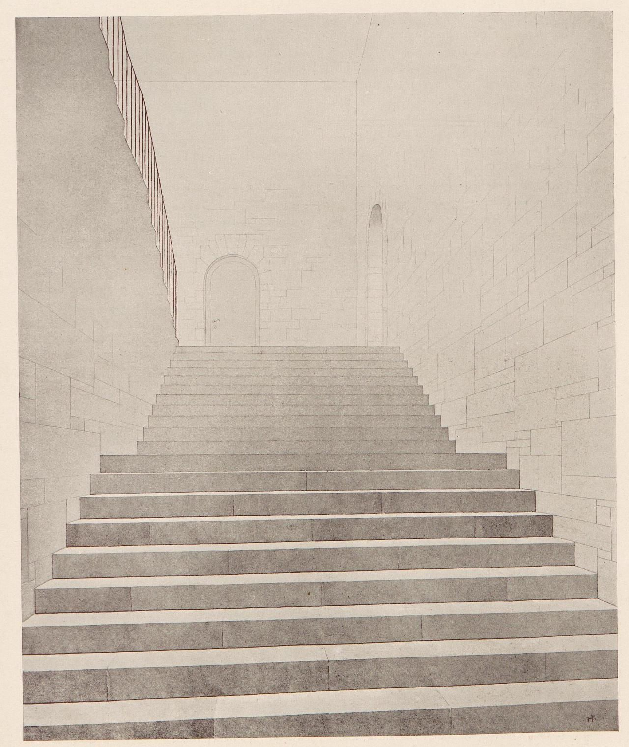 Staircase Ink drawing Heinrich TessenowKunst und Künstler 1925 Heidelberg University