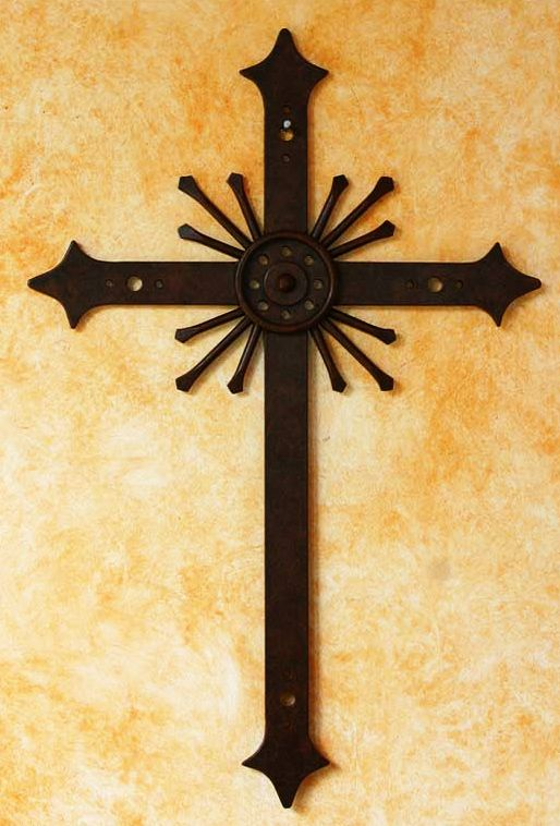 Religious Iron Cross Wall Art, \'Message of Light\' | Wrought iron ...