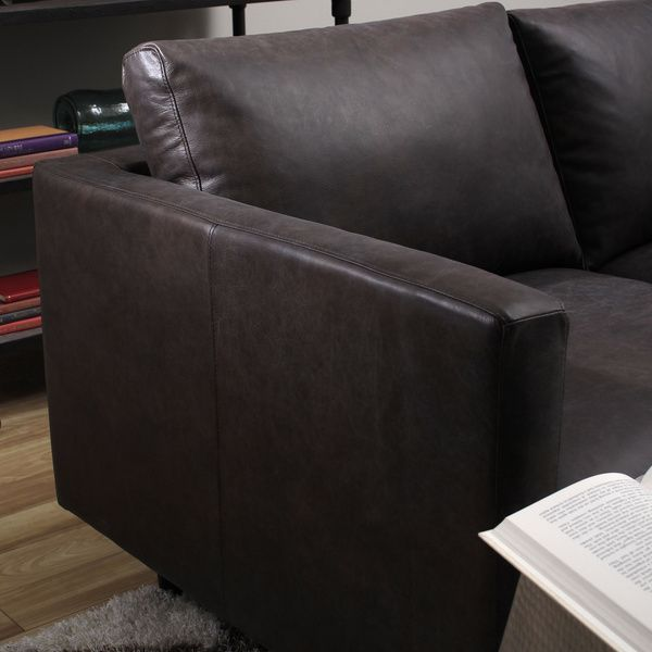 Sax Oxford Brown Leather Sofa   Overstock™ Shopping   Great Deals On Sofas  U0026 Loveseats