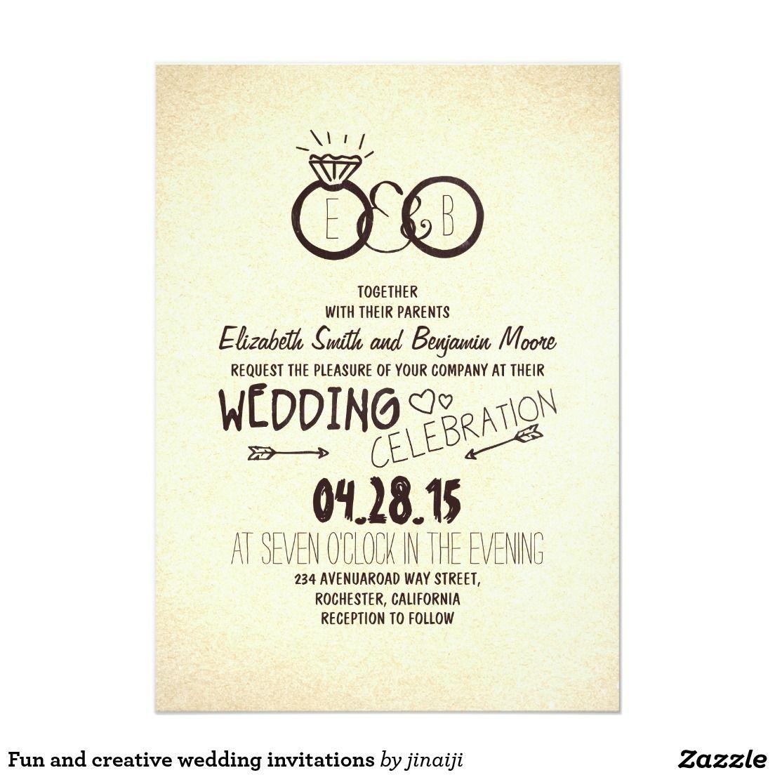 Fun And Creative Wedding Invitations Zazzle Com Creative Wedding Invitations Fun Wedding Invitations Unique Wedding Invitations