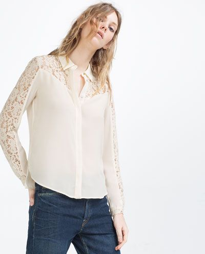 66f87cd1 Image 2 of CONTRAST LACE BLOUSE from Zara | Fashion + lifestyle ...