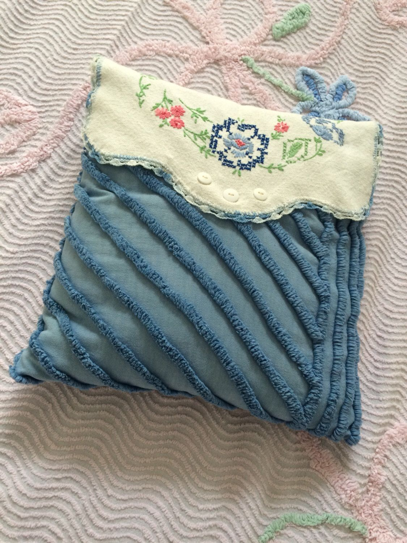 Blue decorative bed pillows - Chenille Blue Decorative Bed Pillow