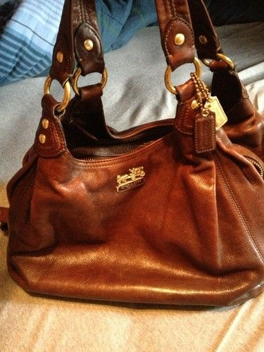 177bd89fe755 Auth  500 Coach Brown Leather Maggie Handbag Purse and with Coach Wallet