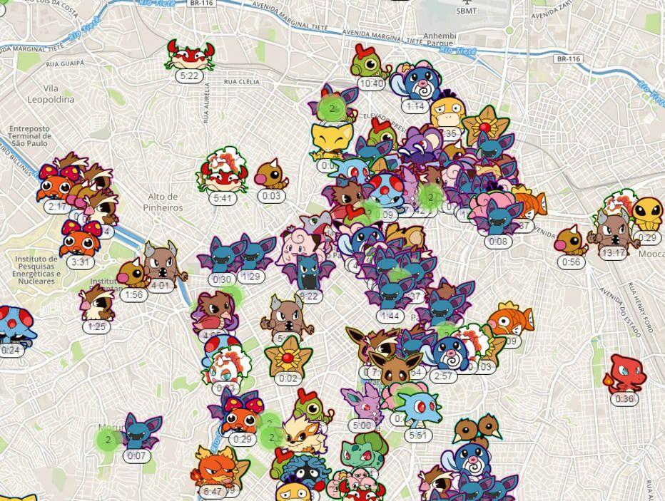 Conheça o mapa que mostra a localização de pokémons