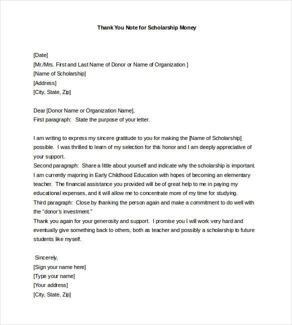 thank you note for scholarship free word excel pdf format letter - scholarship thank you letter samples