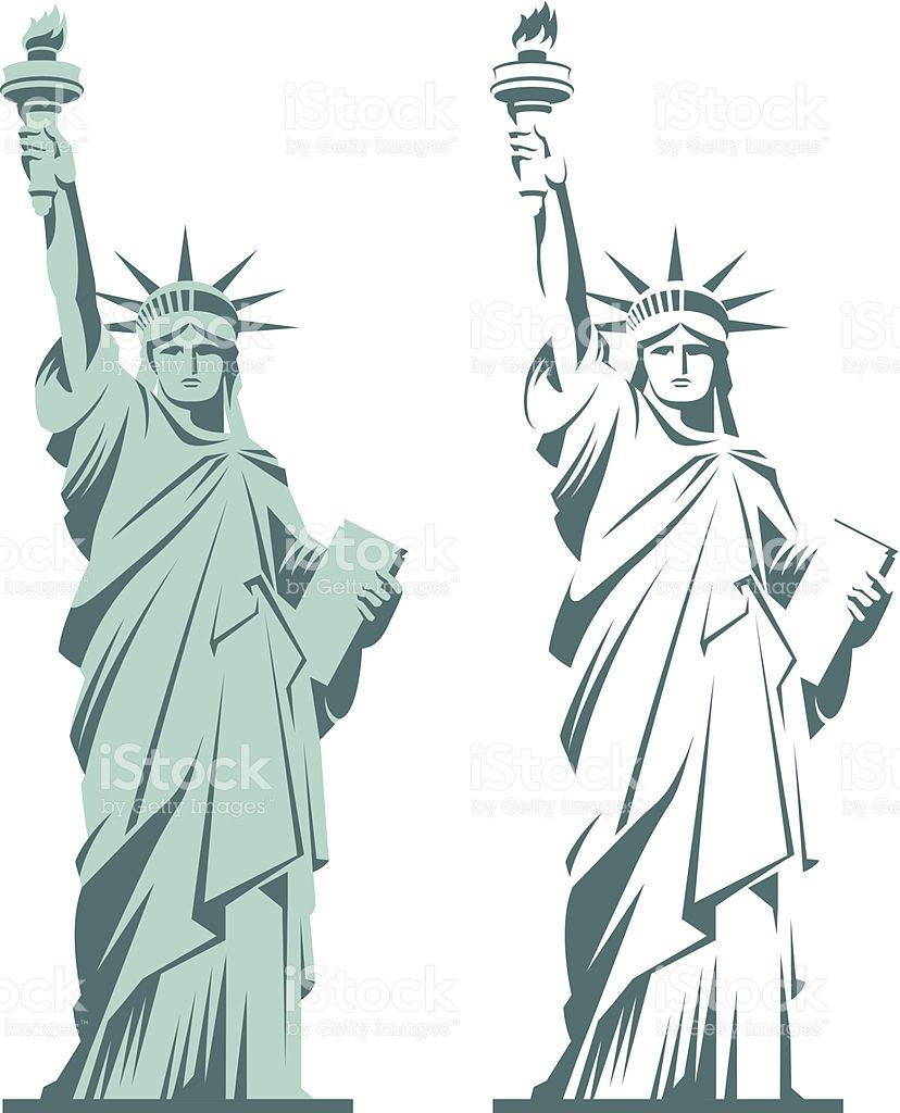 Statue Of Liberty Graphic Illustration In Two Variations Isolated On Statue Of Liberty Drawing Illustration Graphic Illustration