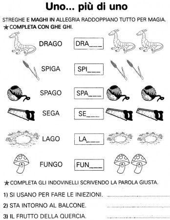 Risultati immagini per schede su gi ghi italiano for Suoni difficili schede didattiche