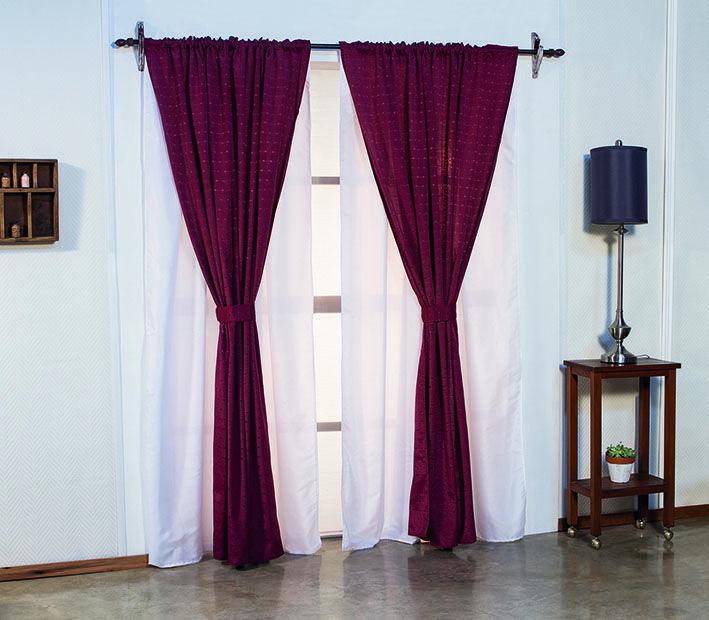 Juego de cortinas doble de ambiente pesada color bord for Cortinas en comedor