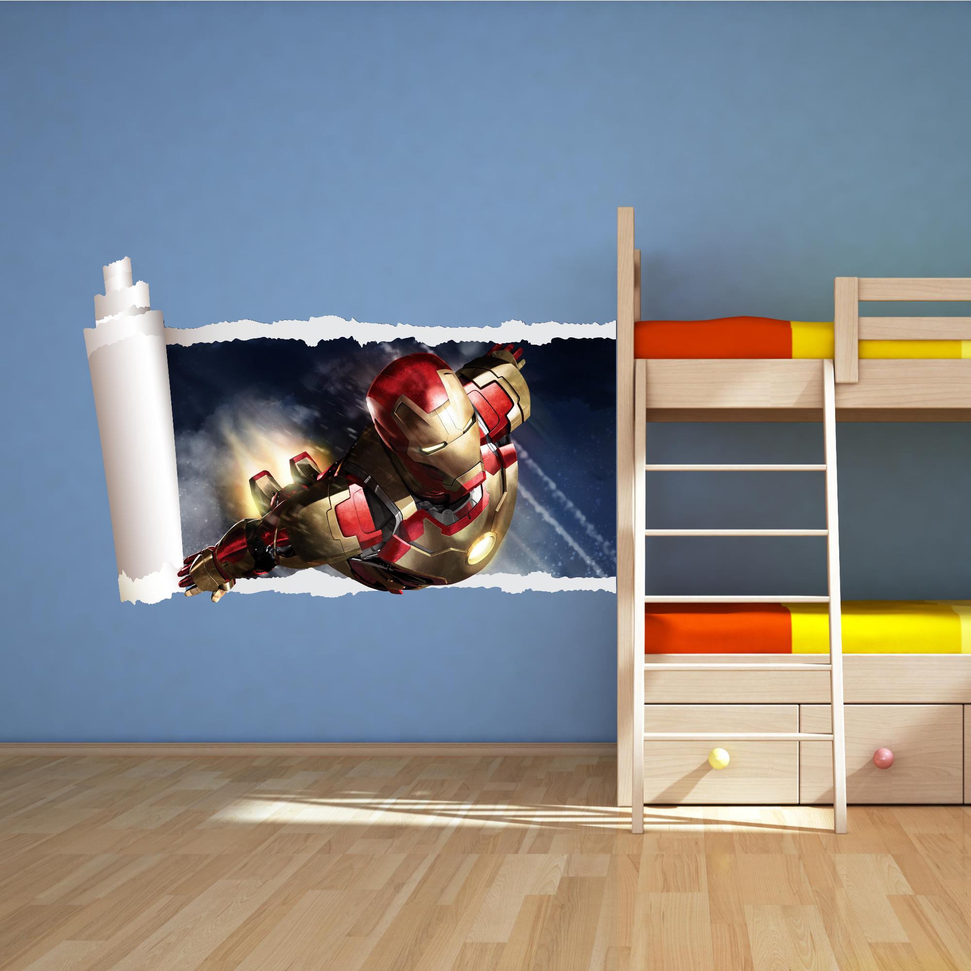 Iron MAN Full Colour Avengers Wall ART Sticker Boys Bedroom