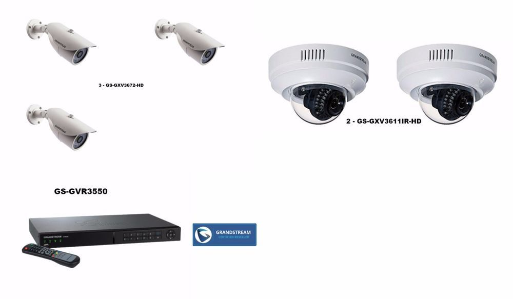 GS-GVR3550 NVR 5 CAM SURVAILLANCE BUNDLE, 3 GS-GXV3672-HD, 2 GS-GXV3611IR-HD #Grandstream