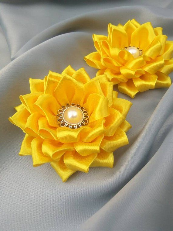 Set Of 2 Yellow Sunflower Decor Asking Flower Girl Hair Diy Lace Ribbon Flowers Fabric Flowers Diy Kanzashi Flowers