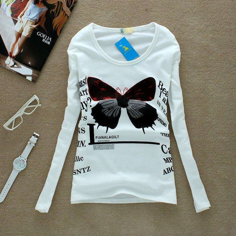 Autumn Women's Girl Round Neck Long Sleeve Cartoon Printed Base T Shirts Top | eBay