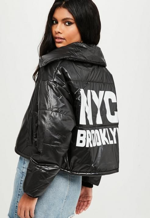 Missguided Black High Shine Puffer Jacket | Products in 2019