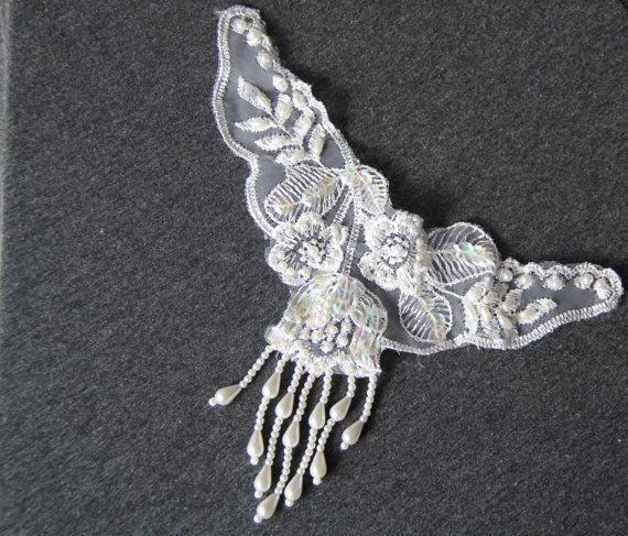 Beaded Lace Applique Bridal Beaded Applique by FoxgloveFernStudio