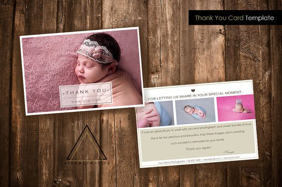 Thank You Card Template Branding Kit Photographer Photoshop - 4x6 thank you card template