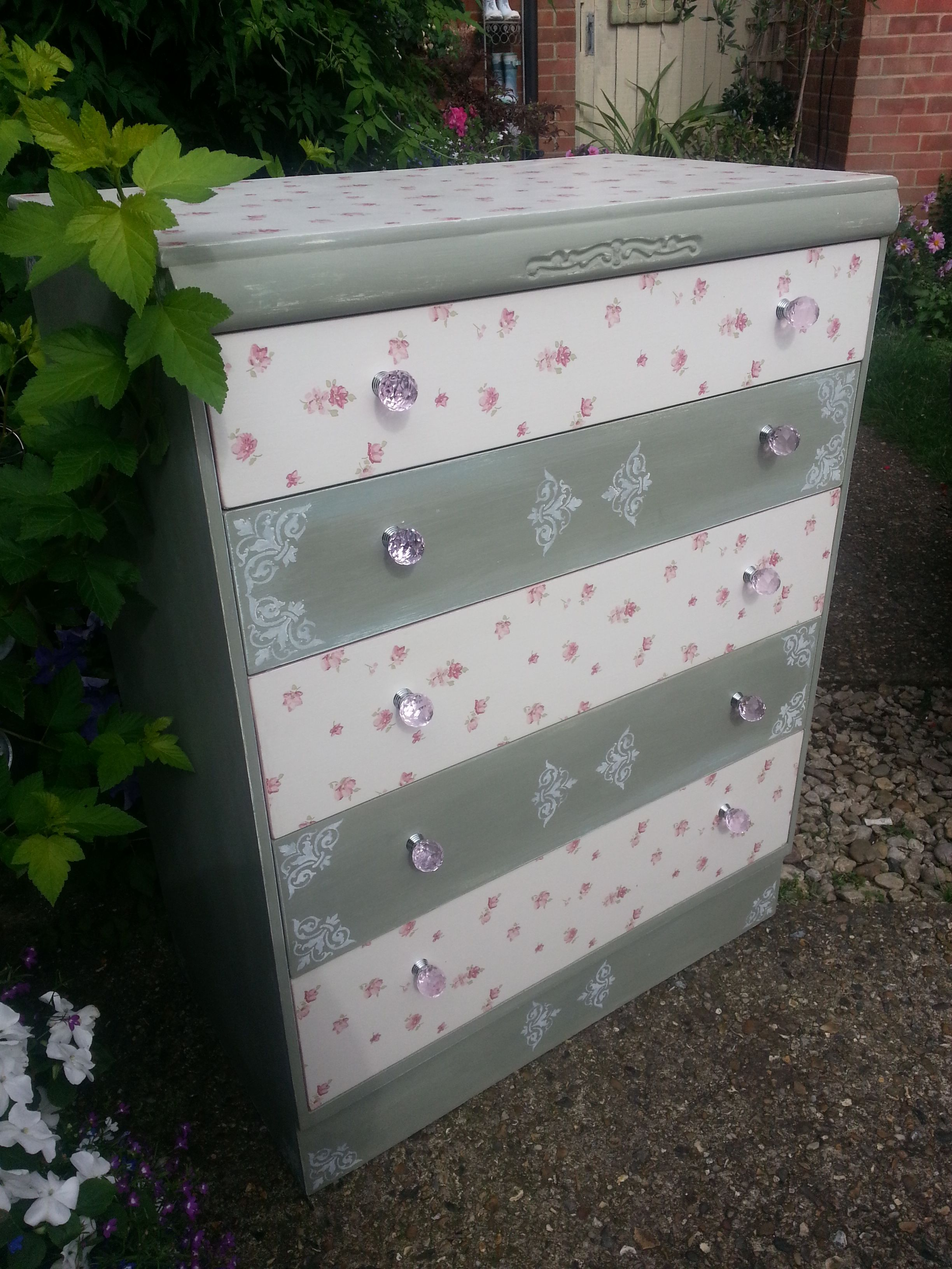 Drawer chest in Annie Sloan custom mix of Old White, Olive and Napolean blue, with Laura Ashley alternate wallpaper fronts and stencilling . . . if you like this, you'll love https://www.facebook.com/pages/Imperfectly-Perfect/244408645753883?ref_type=bookmark