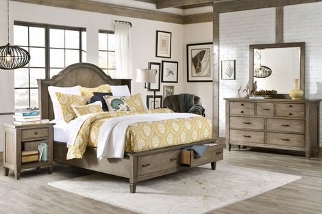 Distressed White Stained Wooden Master Bed With Ladder Headboard And Footboard In K Bedroom Furniture Sets White Bedroom Set Distressed White Bedroom Furniture