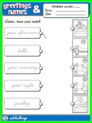 English Step By Step 1st Graders Kindergarten Worksheets Greetings Worksheets Simple greetings worksheets for kindergarten