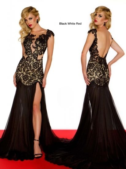 Trendy Black Lace Evening Gown dress black lace chiffon wedding bridal party prom cocktail dress