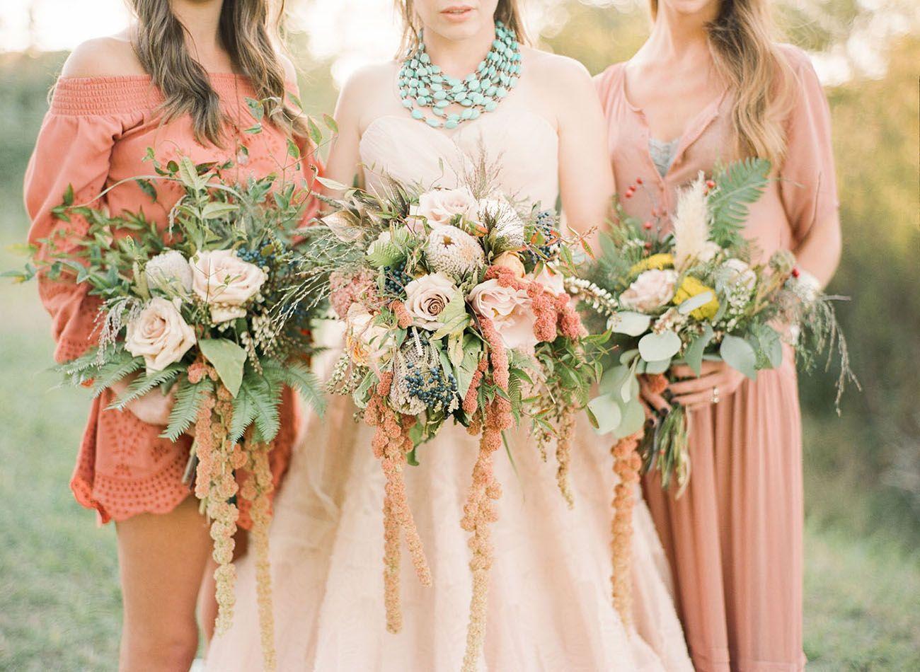 Southwest wedding inspiration with a blush wedding dress blush dusty rose bridesmaid dresses blush wedding gown dessert green bouquets southwest wedding ombrellifo Choice Image