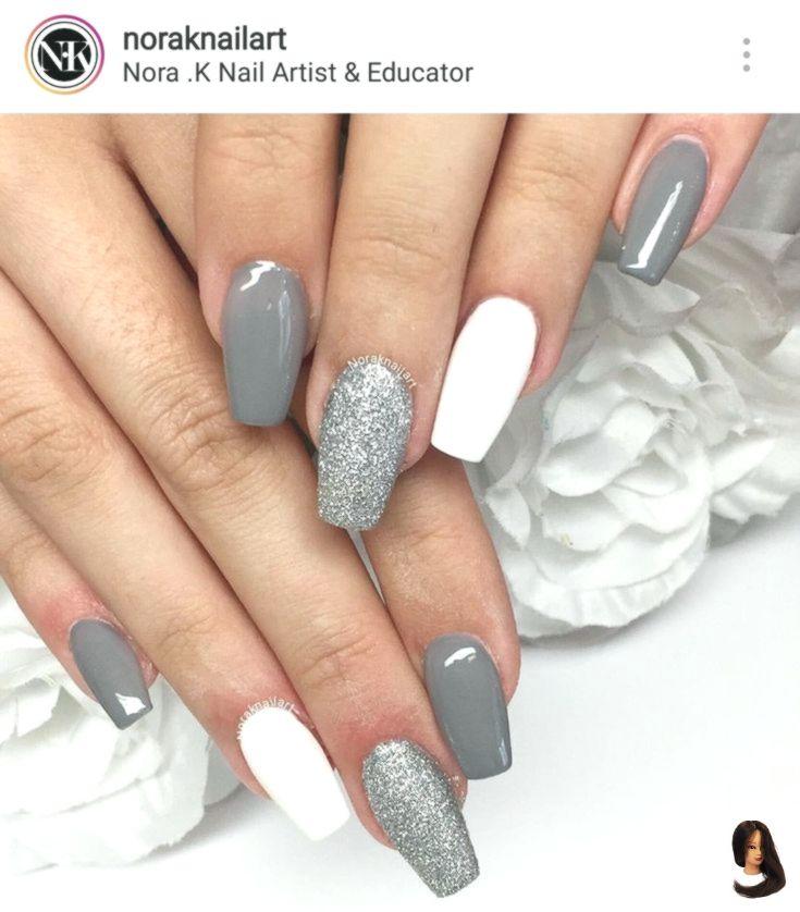 Unghie Grey Acrylic Nails Short Acrylic Nails Stylish Nails