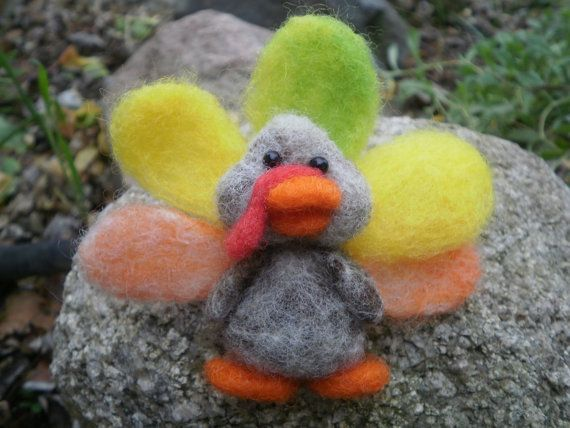 Needle Felted Turkey Brooch Beige by ArgyleAcres on Etsy, $12.00
