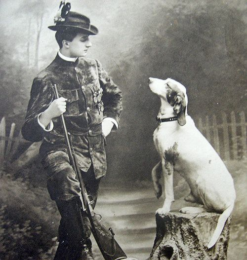 Antique Picture With A Hunting Dog In It