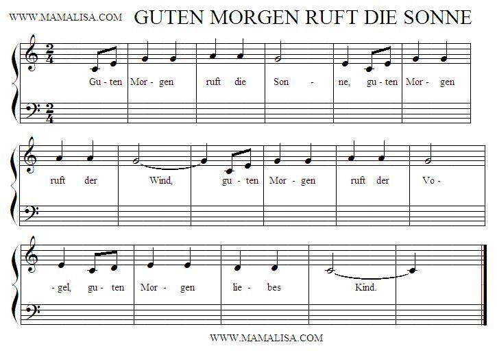 Sheet Music Guten Morgen Ruft Die Sonne Guten Morgen