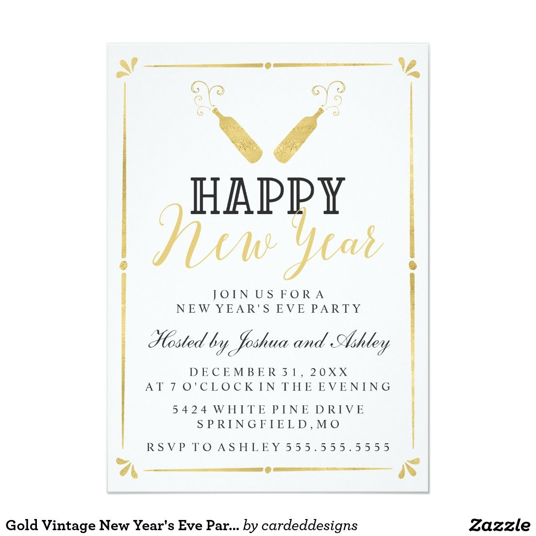gold vintage new years eve party 5x7 paper invitation card