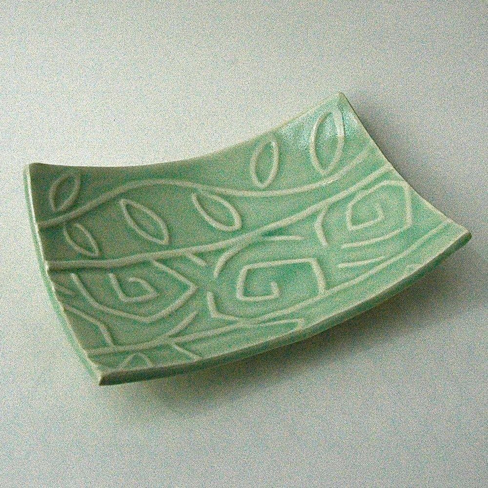 Celadon Whimsical Textured Floral Ceramic Pottery Soap Dish Plate. $18.00, via Etsy.