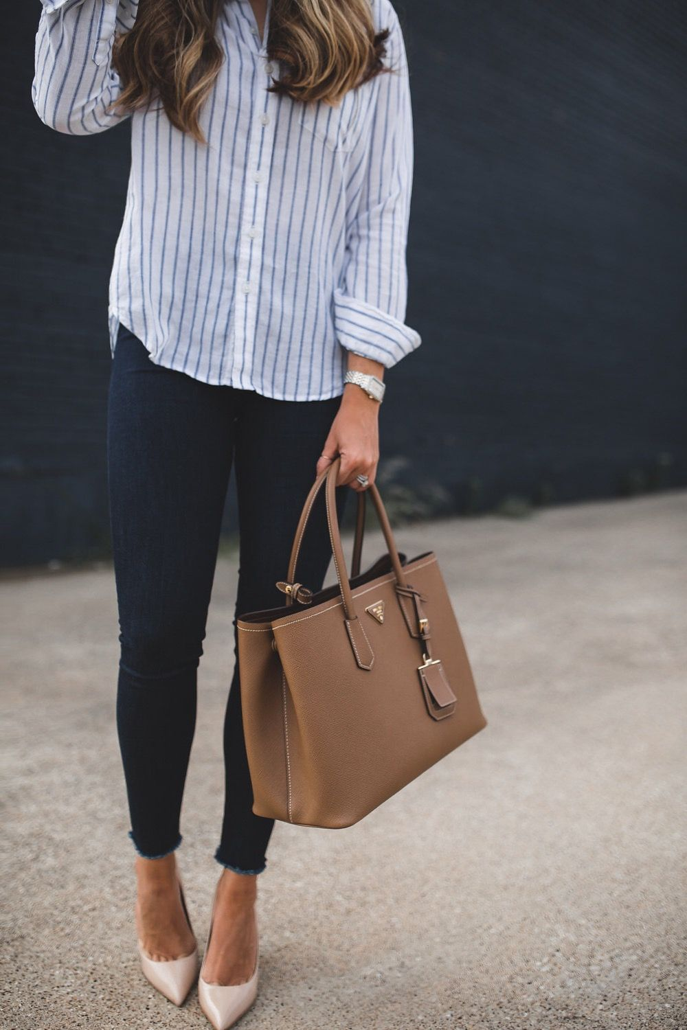 Photo of Striped Button Down & Frayed Denim | The Teacher Diva: a Dallas Fashion Blog featuring Beauty & Lifestyle