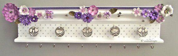 Items similar to 16 x 2 Purple Head Band Holder, Flower Nursery Decor, Wall Mounted Hair Accessory Organizer on Etsy