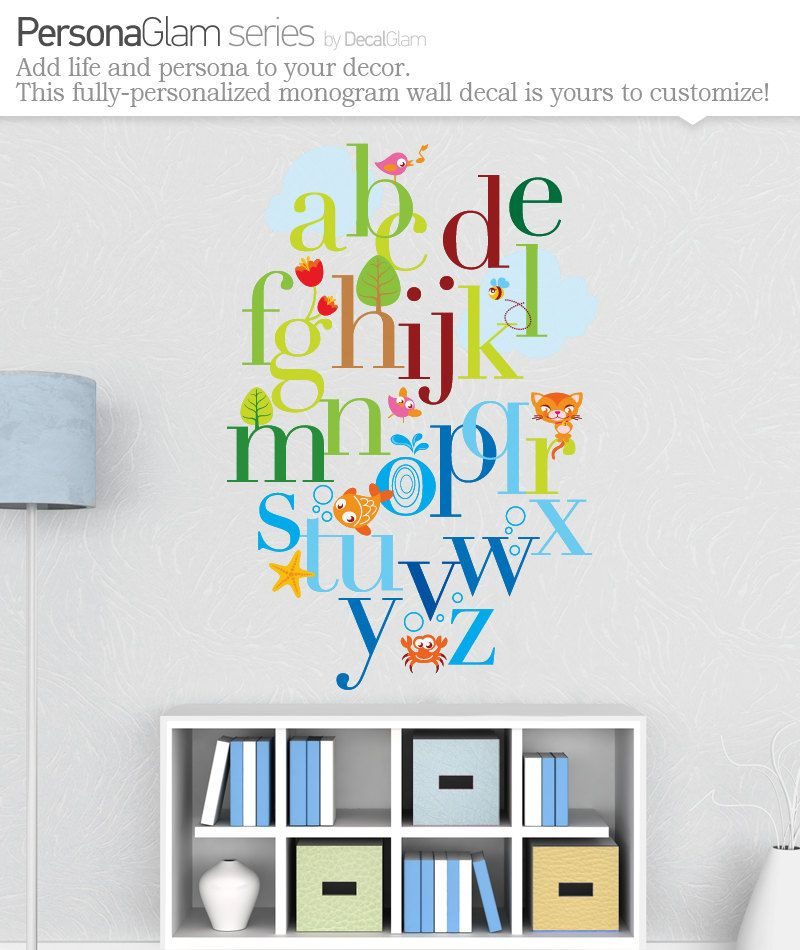 Childrens Alphabet Wall Decal - Large Vinyl Art Sticker ...