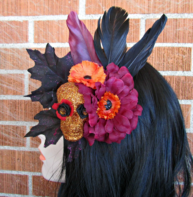 halloween hair clip, day of the dead hair clip, sugar skull hair