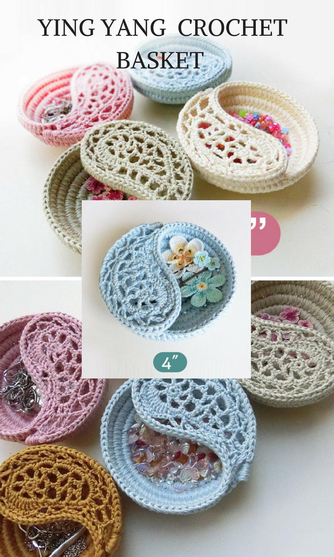 Crochet Pattern 4 Yin Yang Jewelry Dish Ring Dish Crochet Basket