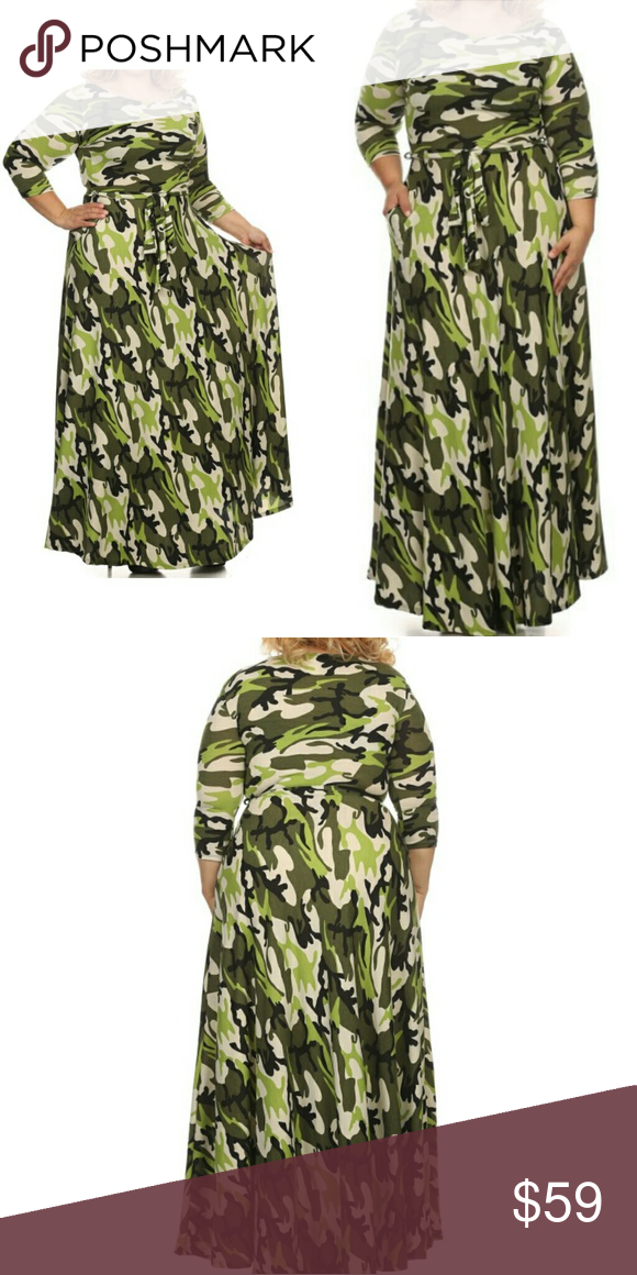 Plus Size Army Fatigue Maxi Dress w Pockets Army Fatique ...