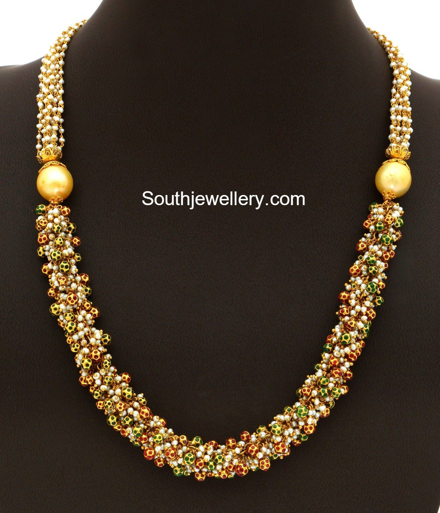 22 carat gold floral designer pendant with multiple beads chain and - Gold Pearls Mala