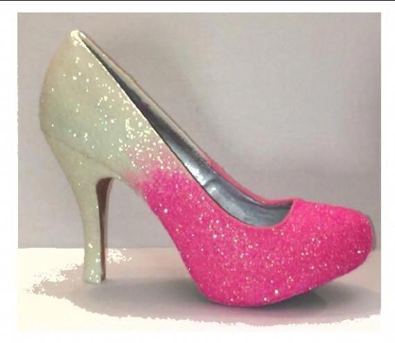 e9168b11899 Hot Pink Ombre Glitter Heels wedding bride Prom Sweet 16 Pumps shoes   Promshoes