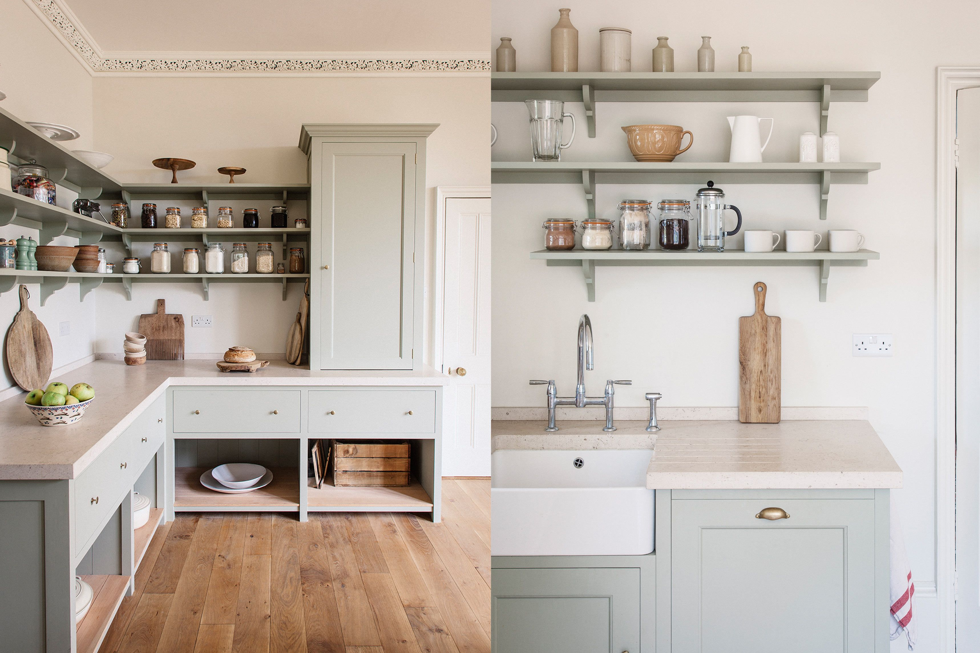 Barve   Light blue wooden kitchen with shelves #plainenglishkitchen