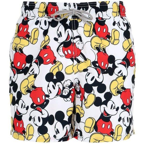 f77621340e Mc2 Saint Barth Men Gustavia Mickey Mouse Swim Shorts ($145) ❤ liked on  Polyvore featuring men's fashion, men's clothing, men's swimwear, white, ...