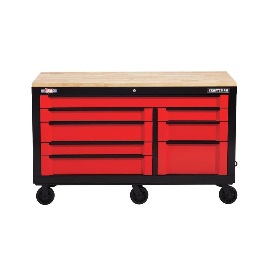 Craftsman 3000 Series 63 In W X 37 In H 8 Drawer Steel Rolling Tool Cabinet Red Cmst26380rb In 2020 Tool Cabinet Soft Close Drawer Slides Mobile Workbench