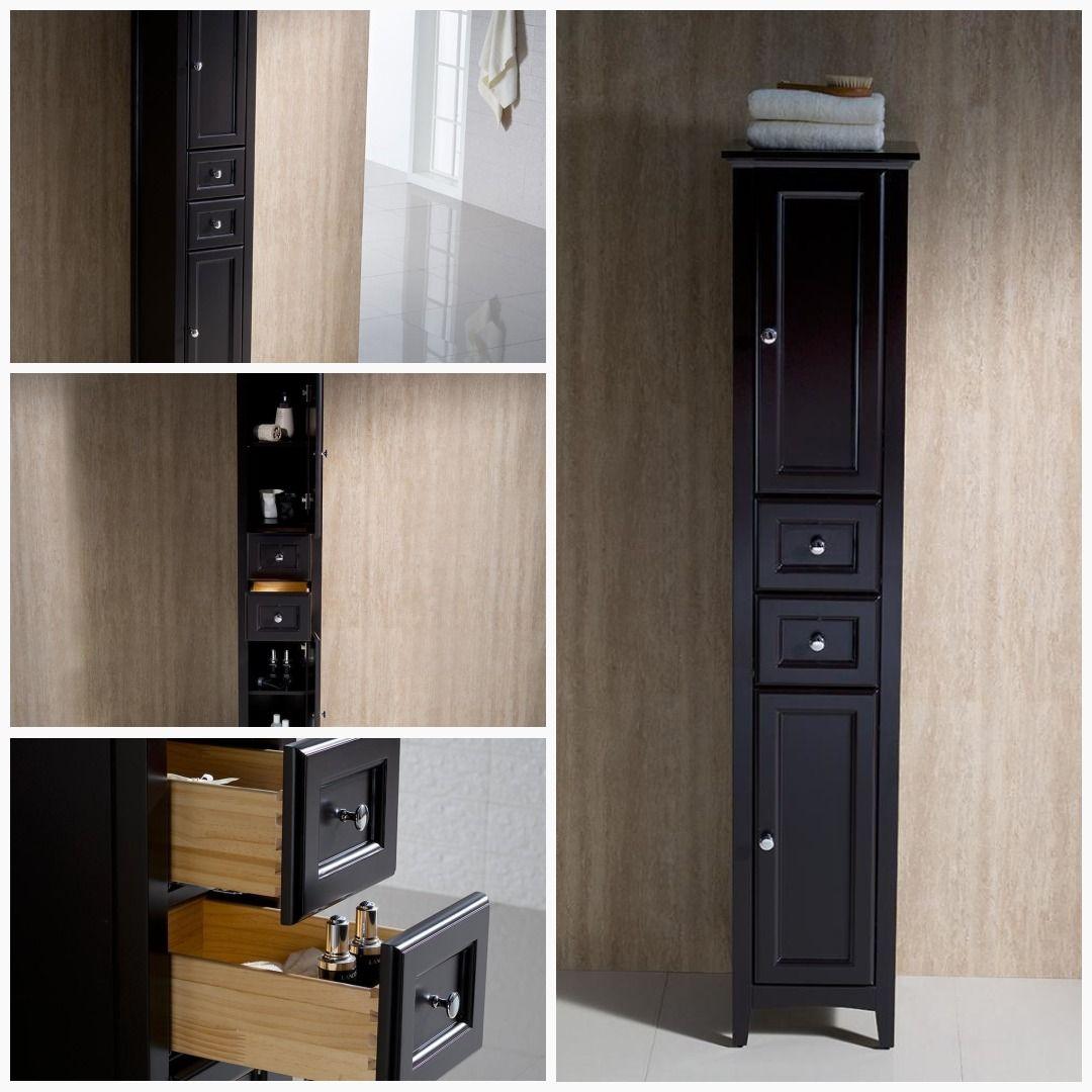 Fresca Oxford Espresso Tall Bathroom Linen Cabinet Linen Cabinet Bathroom Linen Cabinet Traditional Bathroom Vanity