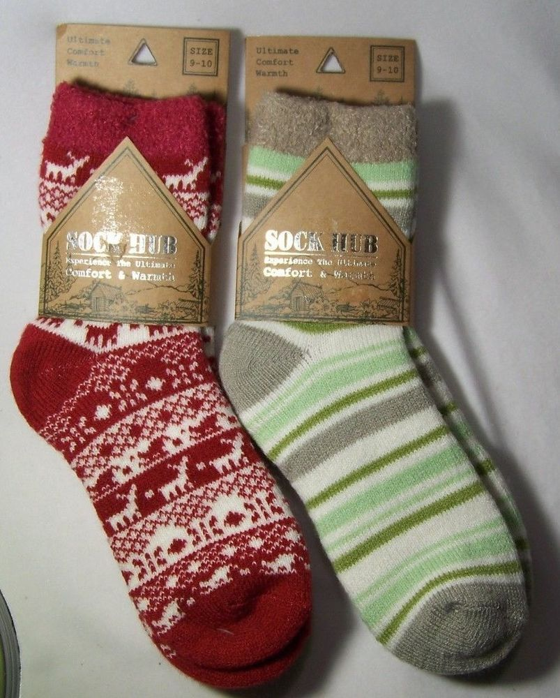 5a1446e40 2 pair Sock Hub Cozy Warm Socks Aloe Infused for Cabin Green Stripes Red  Deer  SockHub  Thermal