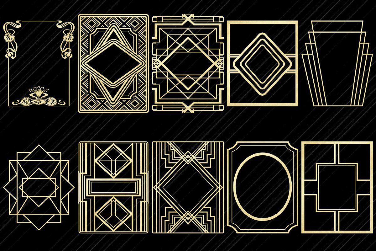 Art Deco Nouveau Gold Foil Elements Art Deco Design Graphics Art Deco Pattern Art Deco Font