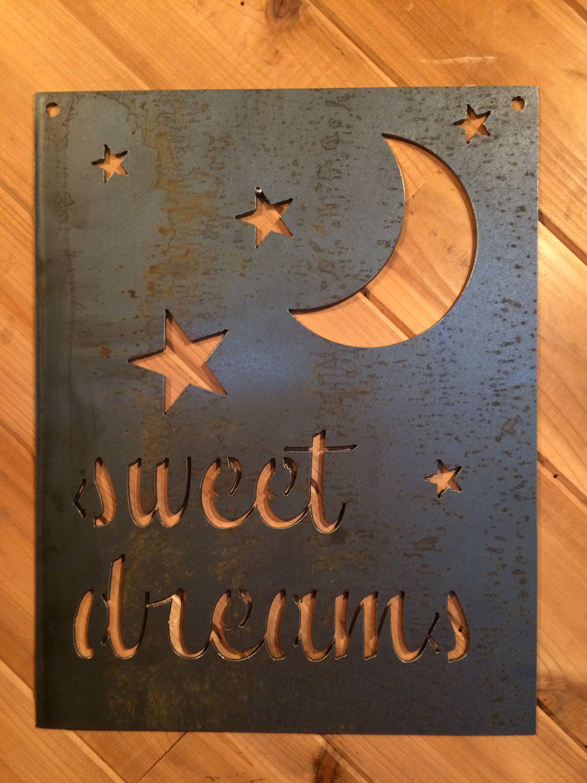 rustic metal nursery sweet dreams stars and moon sign metal wall