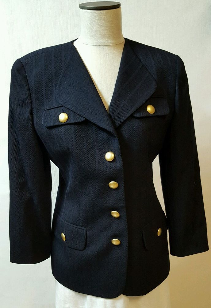 7dbbf43171 Tone on Tone pinstripe with shoulder pads. 4 Flap Pockets adorned with gold  buttons. Buttons showing wear - see pic. Length  27